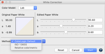Three methods of White Correction now available