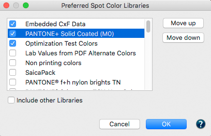 Preferred Spot Color Libraries Options