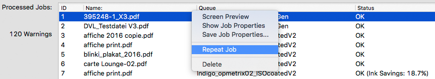 Repeating a processed job in ZePrA