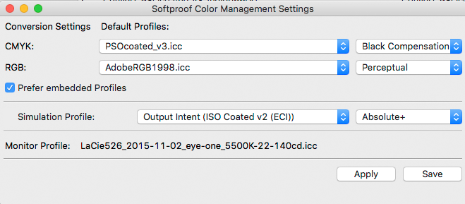 Soft proof Color management Settings